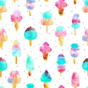 Mint and cherry ice cream delight - watercolor ice creams cones popsicles with dots for summer