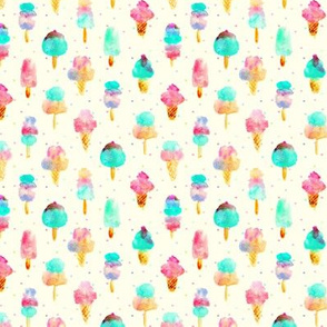 Mint and cherry ice cream delight - watercolor ice creams cones popsicles for summer