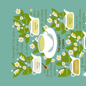 The Perfect Cuppa- Brew Time and Optimal Temperatures for Various Teas- Turquoise- Vintage Kitchen Wisdom Tea Towel
