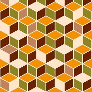 Retro 3D cubes contour brown orange moss green 70s Wallpaper Fabric