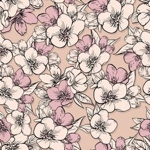 pattern with sakura on color of the skin
