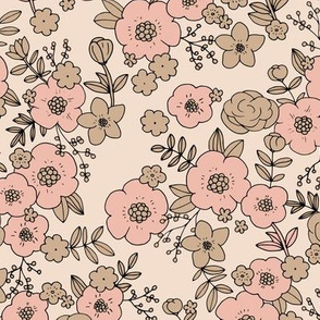 Vintage english rose garden flowers and leaves boho blossom print nursery light blush pink peach girls