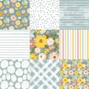 summer daisies cheater quilt - blue