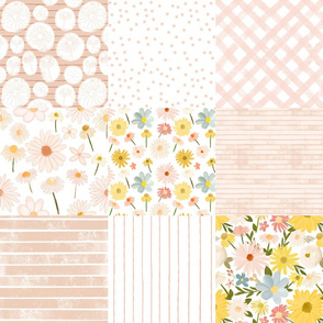summer daisies cheater quilt - barely blushing