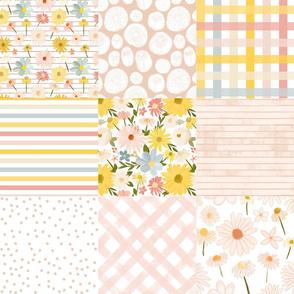 summer daisies cheater quilt - sweet pinks