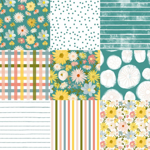 summer daisies cheater quilt - teal