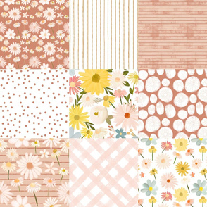 summer daisies cheater quilt - terra cotta