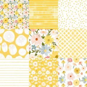 summer daisies cheater quilt - yellow