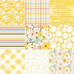 summer daisies cheater quilt - sunshine