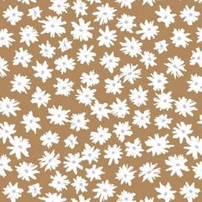 Raw ink boho daisies sweet blossom flowers daisy garden cinnamon white gray neutral nursery