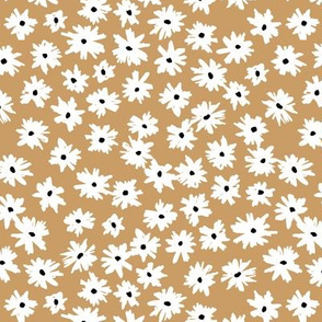 Raw ink boho daisies sweet blossom flowers daisy garden caramel brown neutral