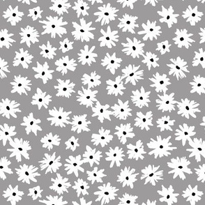 Raw ink boho daisies sweet blossom flowers daisy garden cool gray white neutral nursery