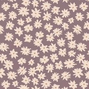 Raw ink boho daisies sweet blossom flowers daisy garden purple plum sand neutral nursery