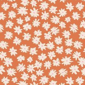 Raw ink boho daisies sweet blossom flowers daisy garden orange peach