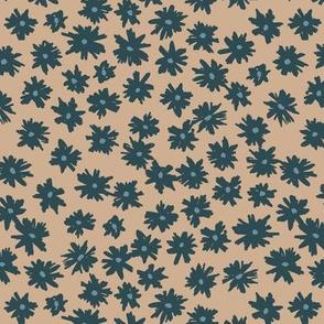 Raw ink boho daisies sweet blossom flowers daisy garden cinnamon blue neutral nursery