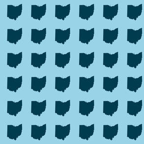 "3"" Ohio silhouette - navy on light blue"