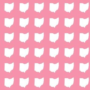 """3"""" Ohio silhouette - white on pink"""