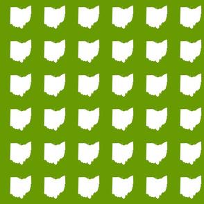 """3"""" Ohio silhouette - white on leaf green"""
