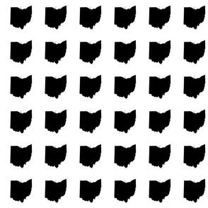 "3"" Ohio silhouette - black and white"