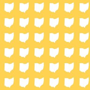 """3"""" Ohio silhouette - white on golden yellow"""