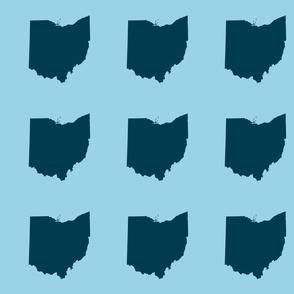 "6"" Ohio silhouette - navy on light blue"