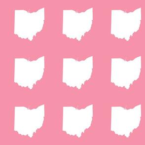 """6"""" Ohio silhouette - white on pink"""