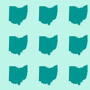 "6"" Ohio silhouette - teal on aqua"