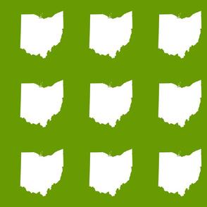 """6"""" Ohio silhouette - white on leaf green"""