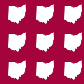 "6"" Ohio silhouette - white on cranberry red"