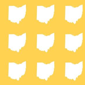 """6"""" Ohio silhouette - white on yellow gold"""
