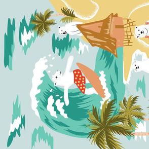 Polar Bear in Hawaii on Holiday- Vintage Travel Tea Towel