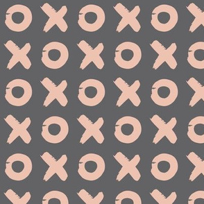 X-O (hugs & kisses) even - Charcoal and Pink