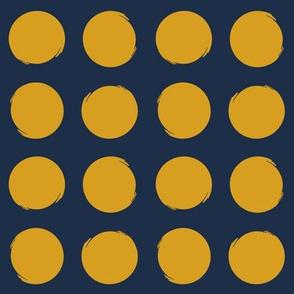 Rough Circles - Navy/Mustard (smaller)