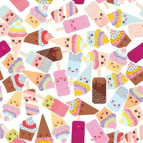 Hello Summer cupcakes with cream, ice cream in waffle cones, ice lolly,  Kawaii with pink cheeks and winking eyes, pastel colors on white