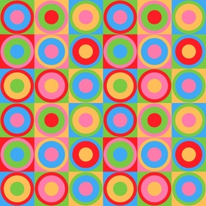 Retro circles colorful candy colors party 70s Fabric