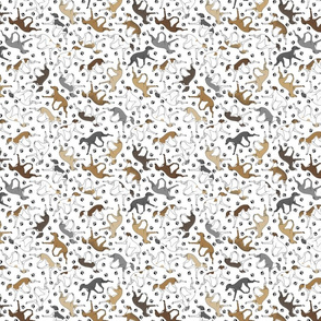 Tiny Trotting Italian Greyhounds and paw prints - white