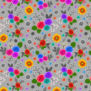 Timeless Floral: Roses & Gazania Sprays - grey, medium