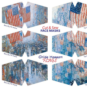 Childe Hassam Flags Face Mask Cut out Panel