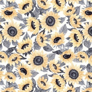 Watercolor Sunflowers - Yellow and Gray- Med