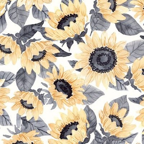 Watercolor Sunflowers - Yellow and Gray- Large