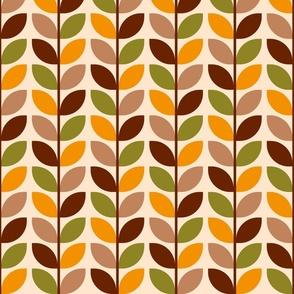 Mid-century brown geometric leaves rows retro Wallpaper Fabric