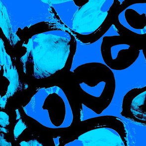 Barcelona blue black painted brush strokes graphic