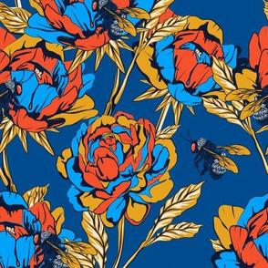 Peonies & Bees - Blue