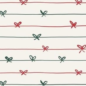 Christmas ribbons in red and green
