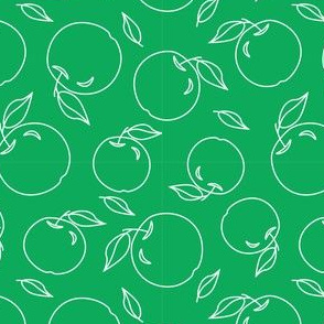 Apples on a green background