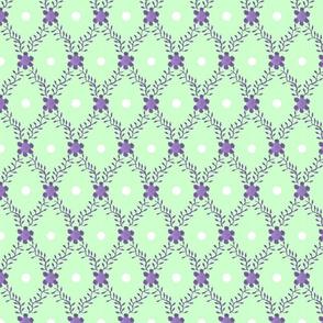 1830s Grande Lavender Mint Sprigs Dots