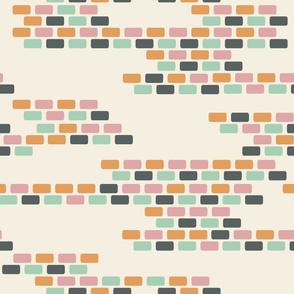 Pastel Brick Wall seamless pattern background.