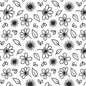 Black and White Doodle Flower Botanical Pattern