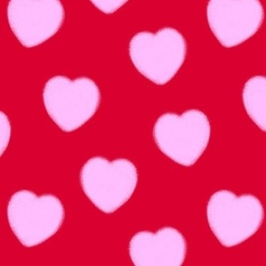 Pink and Red Charcoal Hearts Pattern