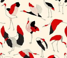 Sarus Crane - Red & Black